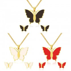 Butterfly Necklace & Earrings Jewellery Set