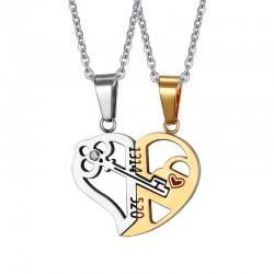 Key lock - Heart shape pendant with necklaces 2 pieces