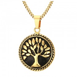 Tree of Life round pendant with stainless steel necklace
