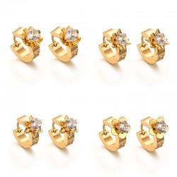 Gold stud earrings with zirconia