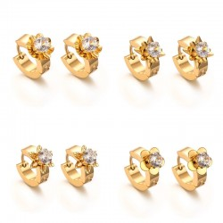 Gold Zircons Stud Earrings