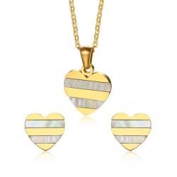 Gold Heart Pearl Earrings Necklace Jewelry Set