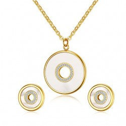 Shell & Rhinestones Round Elegant Jewelry Set