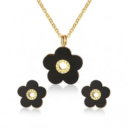 Retro Black Flower Jewelry Set