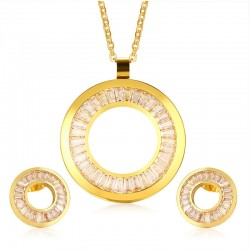 Rhinestone Gold Jewellery Set