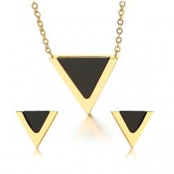 Triangle earrings & necklace - jewelry set