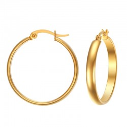 Stainless steel elegant golden hoop earrings