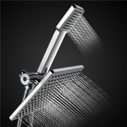 Chrome Stainless Steel Square Jet Shower Head & Hose Set