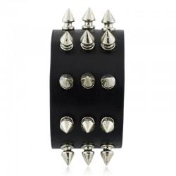 Three Row Metal Spikes Rivet Leather Bracelet Unisex