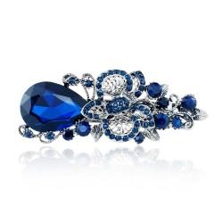 Big blue crystal flower - hair clip - hairpin