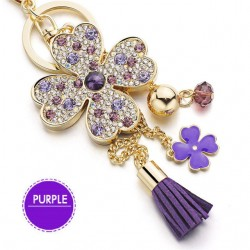 Lucky four leaves clover - crystal keyring