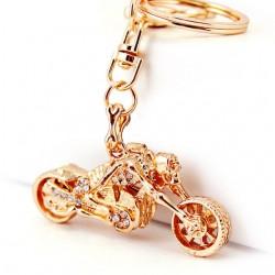 Skeleton Skull Motorcycle Crystal Keychain Keyring