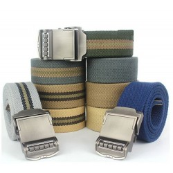 Casual canvas belt with metal buckle 110cm