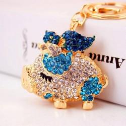 Crystal pig keychain