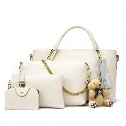 Leather Shoulder Handbag Set 4pcs