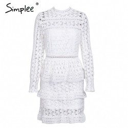 Elegant Hollow Out Lace Dress