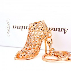 Dalaful Hollow Out High heel Shoes Keychain Purse Bag Buckle HandBag Pendant For Car Keyring Holder