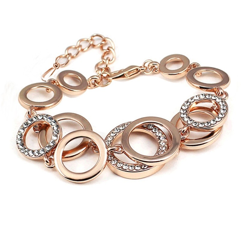 Multilayer Symmetry Circle Link Rhinestones Bracelet