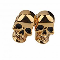 Gold skull skeleton head cufflinks