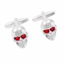 Red Crystal Eyes Skeleton Head Cufflinks