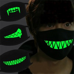 Halloween lichtgevend gezichtsmasker - horror - katoen - glow in dark