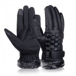 Retro Thickened Leather Touch Screen Anti-skid Gloves