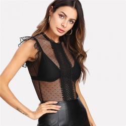 Lace Applique Sheer Dot Mesh Bodysuit