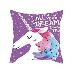 Printed Unicorn Pillowcase Cushion Cover Case Cotton 45 * 45cm