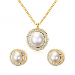 Round Pearl Earrings & Necklace Jewellery Set