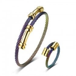 Multi Color Adjustable Bracelet & Ring Set