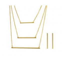 3 Layer Necklace& Earrings Jewellery Set
