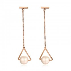 Triangle & Pearl Long Earrings