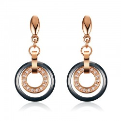 Ceramic & Crystal Round Earrings