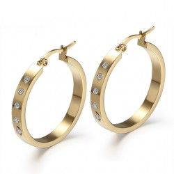 Vnox Big Round Hoop Earrings for Women Gold-Color With CZ Stone Not Allergic