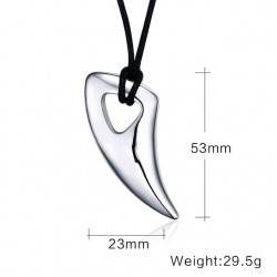 Men's necklace with steel bull horn pendant
