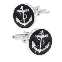 Anchor Round Enamel Cufflinks