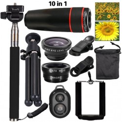 iPhone 8 7 6 5 S Smartphone Mobile Tripod 12X Telephoto Telescope Lens Kit
