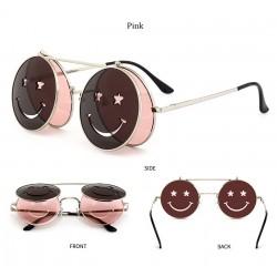 Steampunk Vintage Round Double Lens Sunglasses Unisex