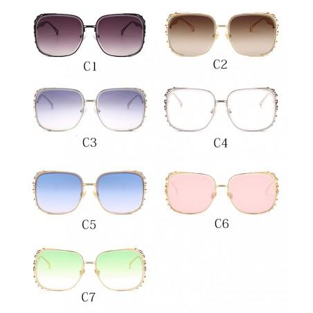 Vintage Steampunk Square Rhinestone Sunglasses Glasses
