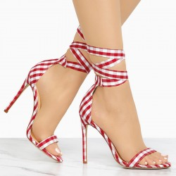 Cross-tied High Heeled Sandals