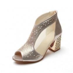 Elegant Shiny Sandals Booties