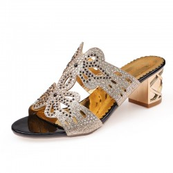 Rhinestones Cut-Out Sandals
