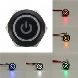 12V 5-pins 19 mm Led Metalen Drukknop Spanningsschakelaar Waterdichte Schakelaar Zwart