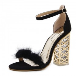 Women High Heel Fur Crystal Transparent Metal Summer Sandals