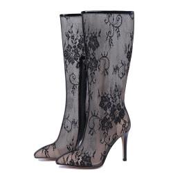 Mid-Half Summer Boots Thin High Heels Pointed Toe Zipper