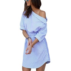 Plus size - off shoulder striped dress