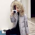 Women's waterproof parka jacket with fur hood