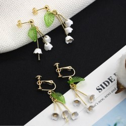 Lilies of the valley stud earrings clips