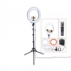 "RL-18\"" 55W 240 LED 5500K photography dimmable ring lamp with mirror tripod"