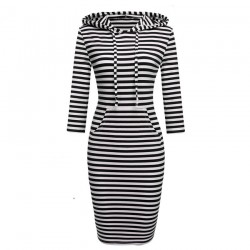 Striped hooded dress with pockets